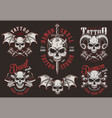 vintage demon skull tattoo studio labels vector image