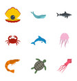 water wildlife icons set flat style vector image vector image