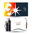welder with welding machine business card vector image vector image