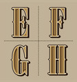 western alphabet letters vintage design e f g vector image vector image