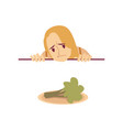 woman on a diet looking sad at a broccoli flat vector image vector image
