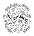 summer lettering in floral pattern round frame vector image