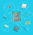 back to school poster with school supplies vector image