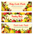 banners of exotic fresh tropical fruits vector image vector image