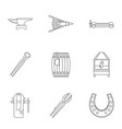 blacksmith equipment icon set outline style vector image vector image