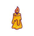 burning candle icon on white background vector image