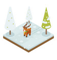 cartoon deer walking winter wood forest isometric vector image vector image
