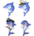 cartoon shark collection set vector image