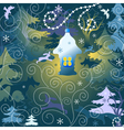 Christmas background with a toy house forest and w vector image