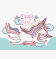 cute unicorn flying in the clouds with flowers and vector image vector image