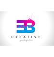 eb e b letter logo with shattered broken blue vector image vector image