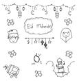 Eid mubarak doodle art vector image