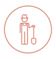 Farmer with shovel line icon vector image vector image