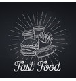 fast food icon chalkboard style vector image vector image