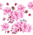 floral seamless wallpaper with pink flowers vector image vector image