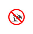 forbidden plucking flower icon on white vector image vector image