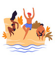 friends jumping in water travelers summer beach vector image vector image
