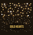 gold hearts love luxury romance black background vector image