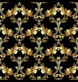 gold royal 3d baroque seamless pattern floral vector image