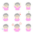 grandmother with different emotions cartoon vector image
