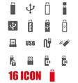 grey usb icon set vector image
