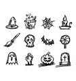 halloween icon set sketch vector image vector image