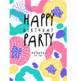 happy birthday party colorful banner with date vector image vector image