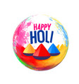 happy holi festival greeting design background vector image vector image