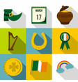 happy st patricks day icon set flat style vector image
