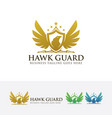 hawk guard logo design vector image vector image