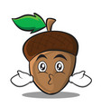 kissing acorn cartoon character style vector image vector image