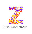 letter z logo with purple yellow red particles vector image vector image