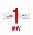 May 1 Paper Label with Ribbon Labor Day vector image vector image