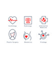 medical specialization symbols set cardiology vector image vector image