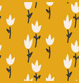mustard yellow tulip flower seamless pattern for vector image vector image