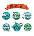 outline round nautical icons outline round vector image