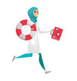 paramedic running with first aid box and lifebuoy vector image vector image