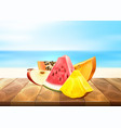 pineapple papaya watermelon apple fruit slice set vector image