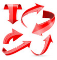 red 3d arrows shiny icons vector image vector image