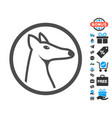 rounded fox head flat icon with free bonus vector image
