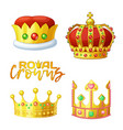 set golden royal crowns in cartoon style for vector image