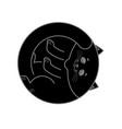 sleeping black cat isolated home pet sleeps on vector image