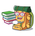 student with book backpack mascot cartoon style vector image