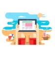 tablet in hand on beach sea vector image vector image