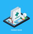 tablet pharmacy online concept vector image vector image