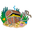 treasure chest on sea bottom vector image
