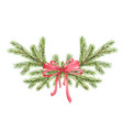 watercolor christmas wreath with green pine vector image vector image