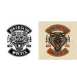 wolves biker club emblem in two styles vector image vector image