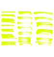 yellow highlighter brush lines hand drawing vector image vector image