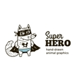 Super Fox in costume character isolated on white vector image